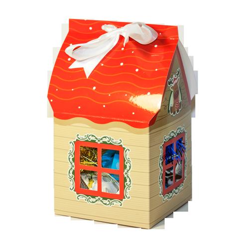подарочная упаковка домик новогодняя