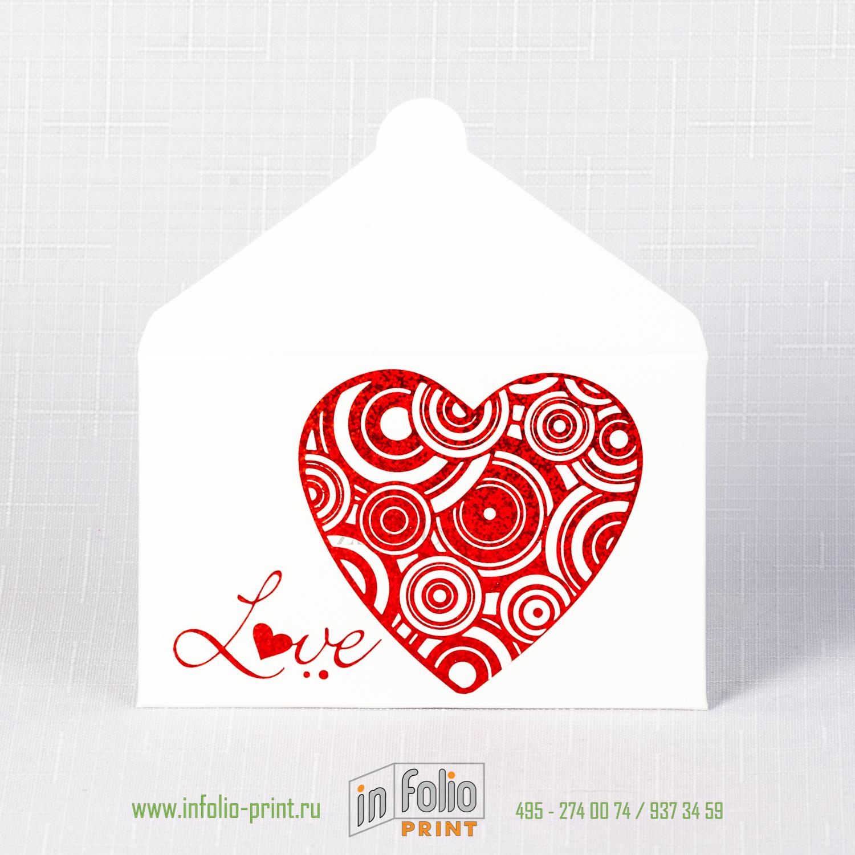 Конверт 95х60 мм, белый лён 250 г/м2 - красное сердце