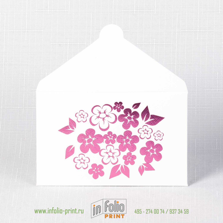 Конверт 95х60 мм, белый лён 250 г/м2 - розовые цветы