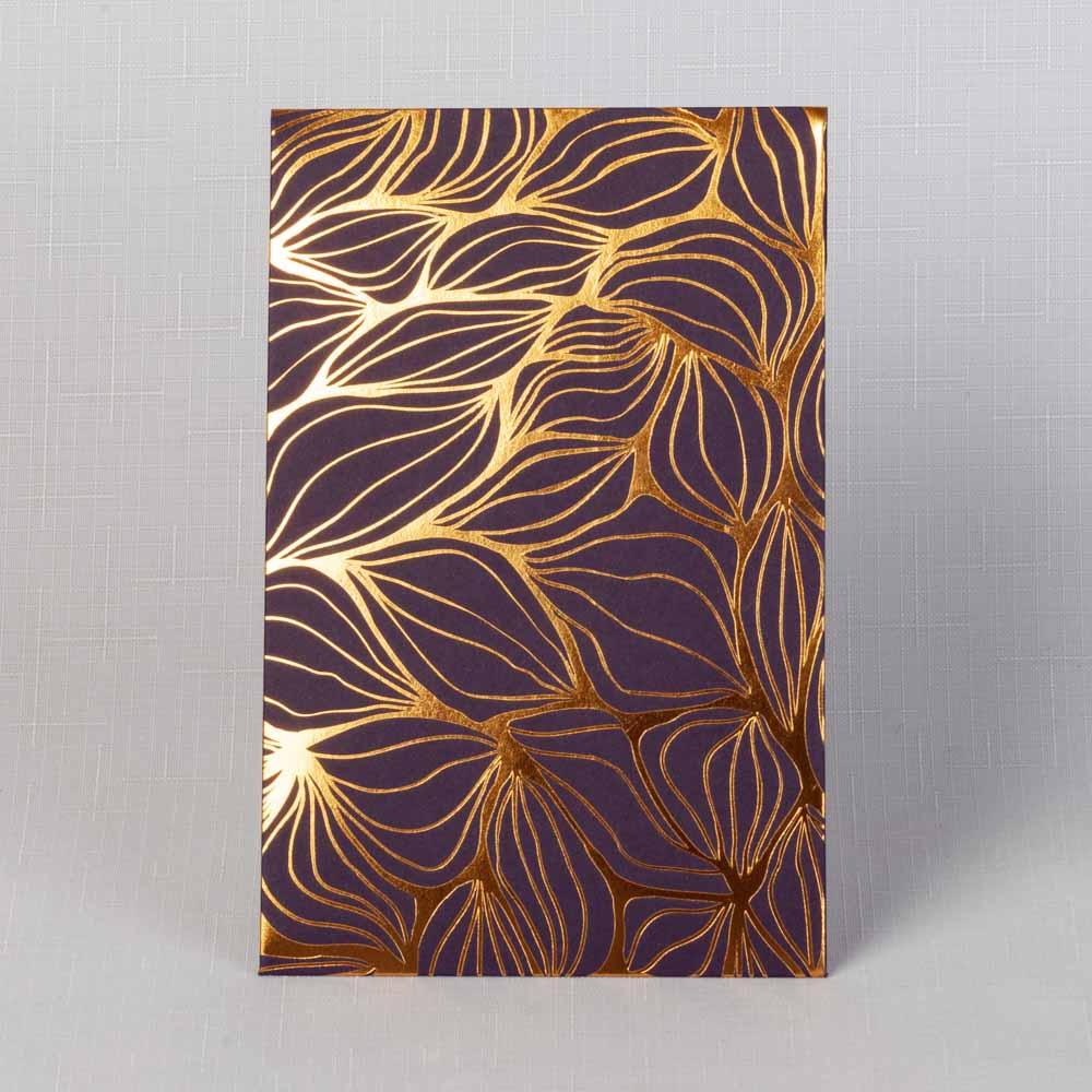 тёмно-фиолетовый картон с золотой фольгой (5 шт.)