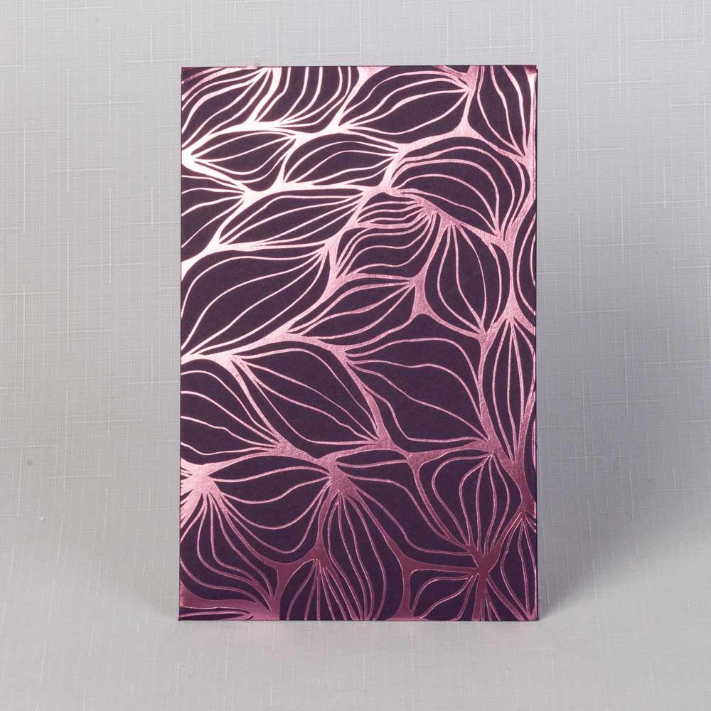 тёмно-фиолетовый картон с розовой фольгой (5 шт.)