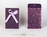 Темно-фиолетовый картон с розовой фольгой и репосовой лентой