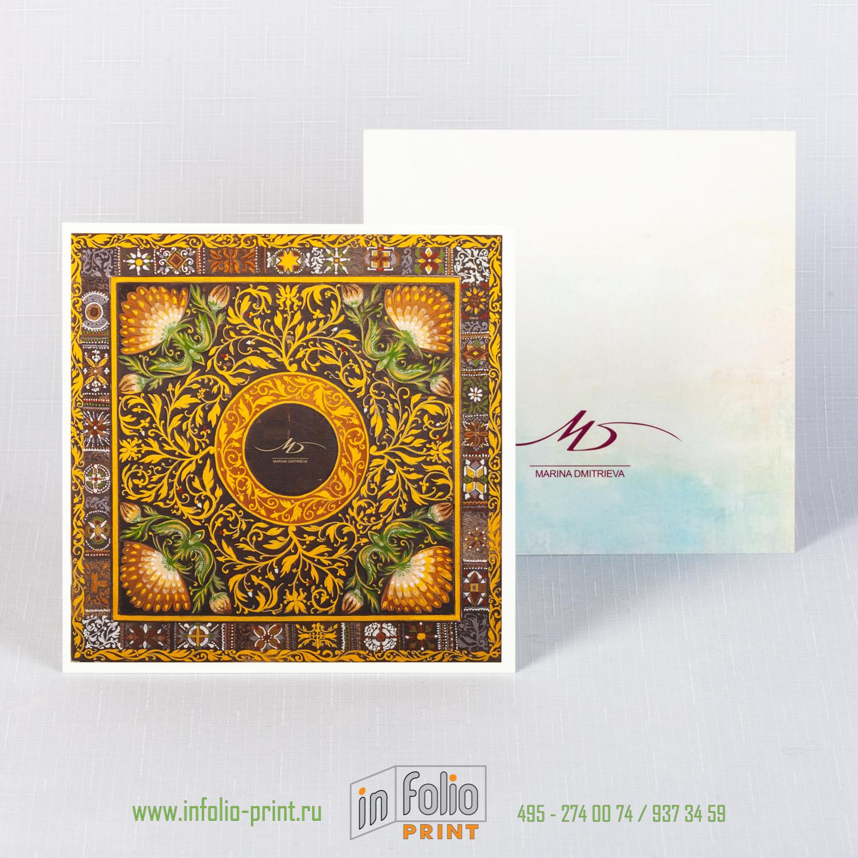 Квадратная открытка с ламинацией софттач