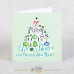 Открытка с Новым годом с тиснением ярко зеленой фольгой