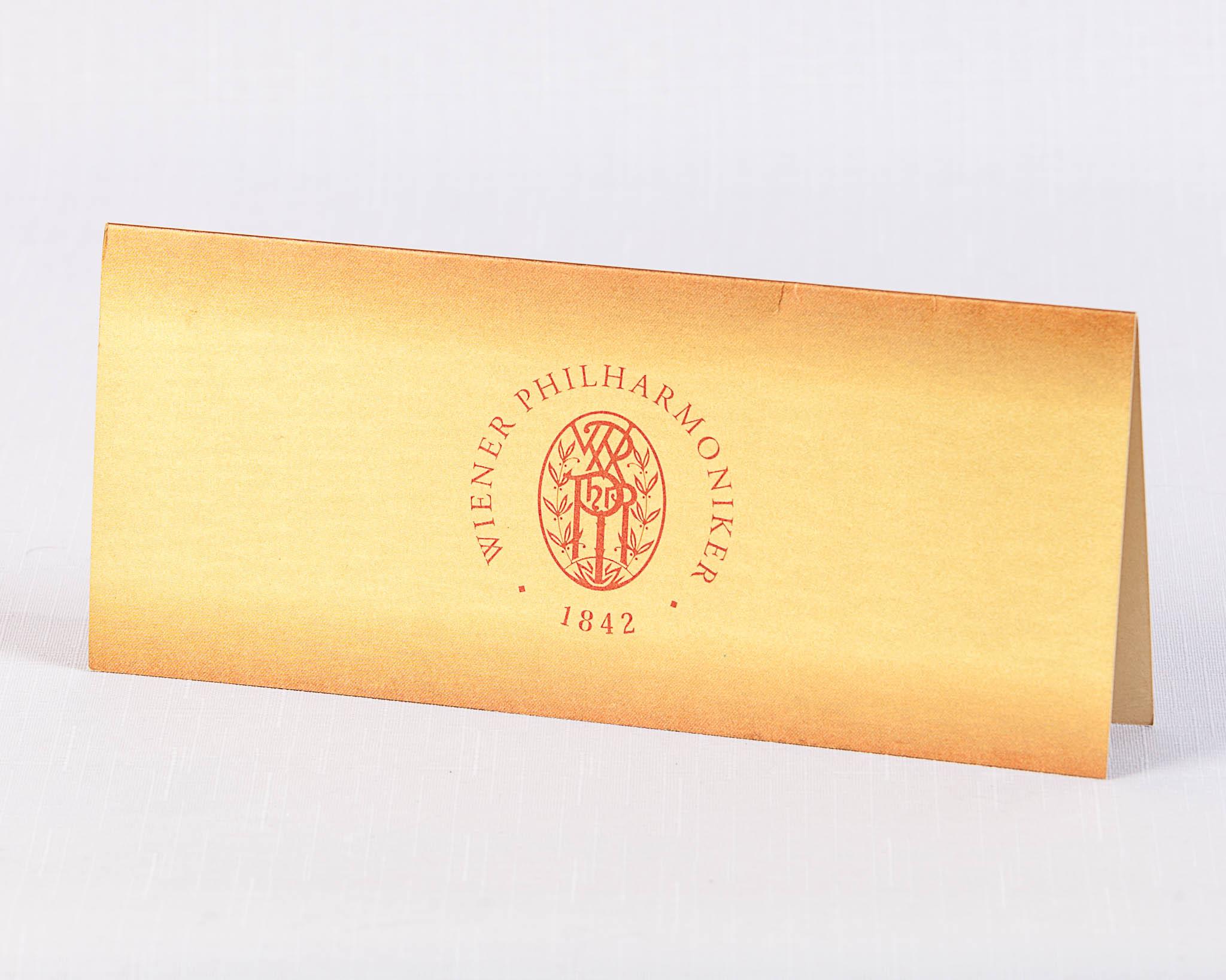 Приглашение на золотой бумаге для венской филармонии