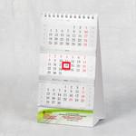 Настольный календарь с бегунком и блоками полимат серебро