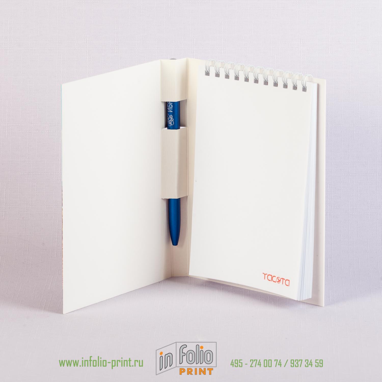 Блокнот с ручкой А6 с плотной ламинированной обложкой