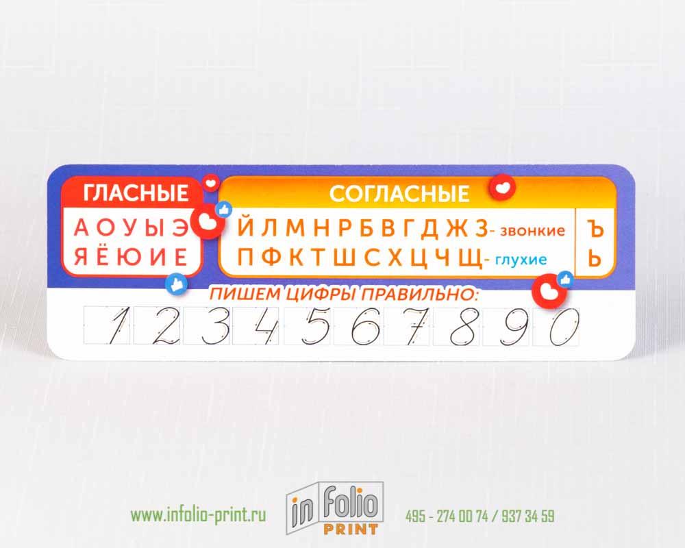 Закладка с буквами и цифравми для начальной школы