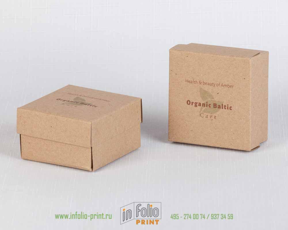 Коробка крышка-дно маленькая из натурального крафта