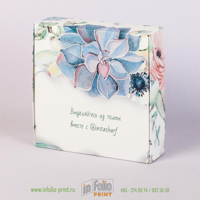 Самосборная коробка 200х200 с цветным рисунком