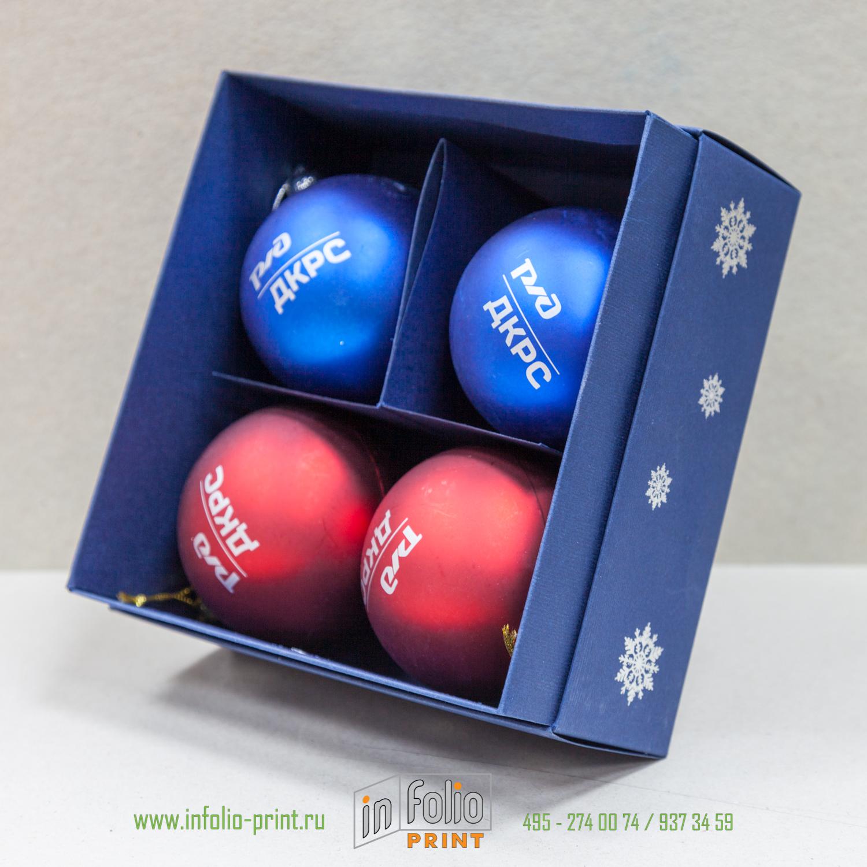 Коробка с новогодними шарами. Инфолио-Принт