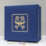коробка крышка-дно из дизайнерской бумаги с золотым тиснением