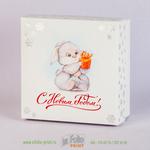 Упаковка крышка-дно с двумя видами тиснения для подарков на Новый год