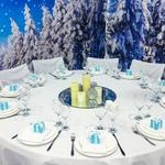 Бонбоньерка голубая, зимняя свадьба