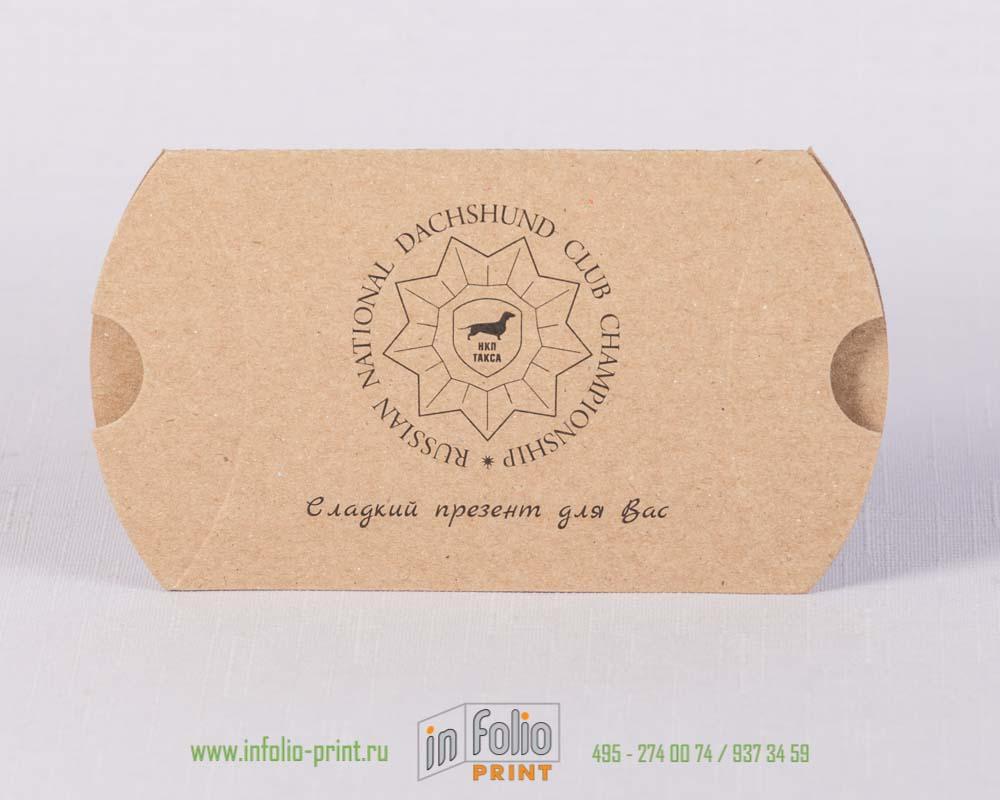 Коробка пирожок из крафт картона