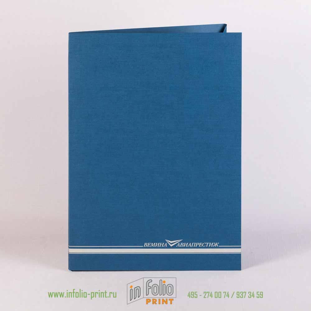 Папка из дизайнерской бумаги синего цвета с тиснением лен, печать серебром