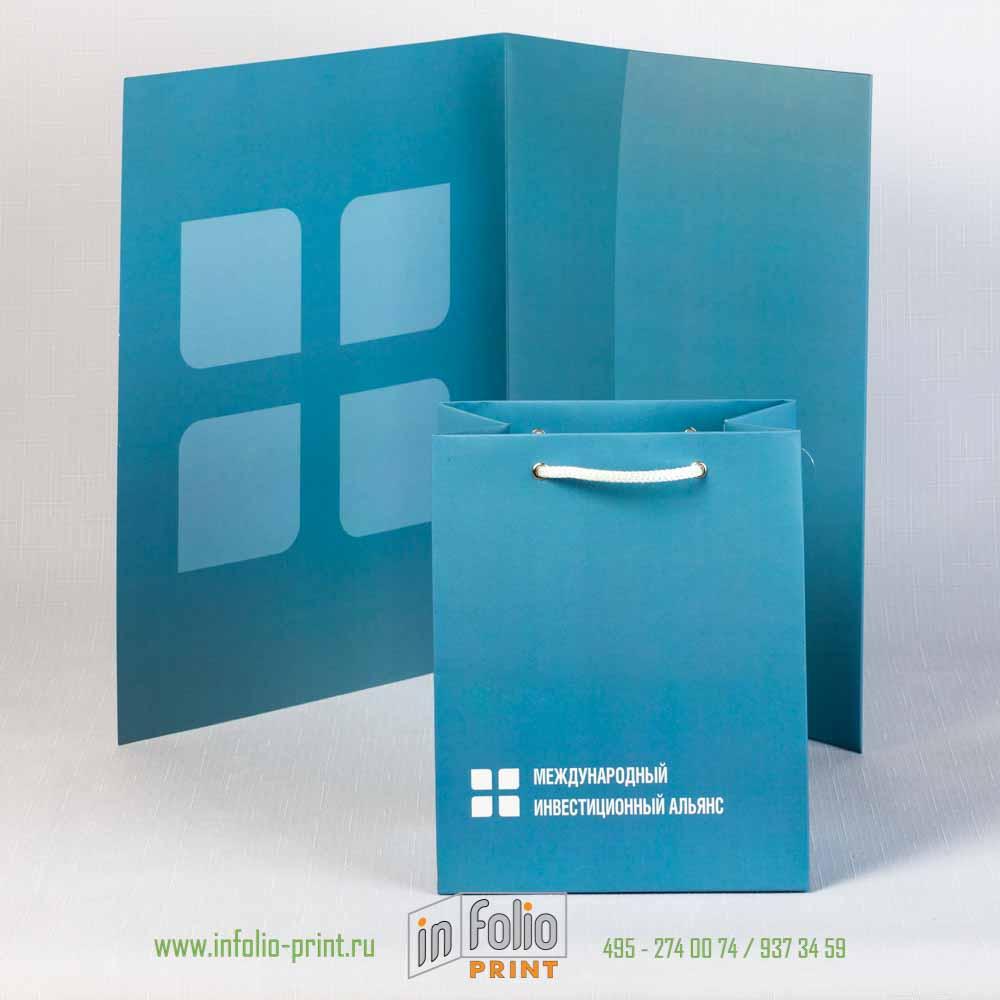 Набор фирменная папка с пакетом