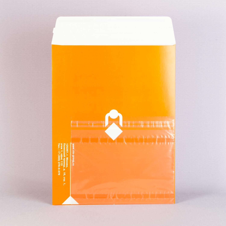 курьерский картонный конверт с прозрачным пакетом