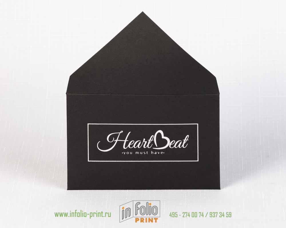 черный конверт с серебрянным тиснение 112х72 мм