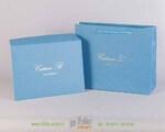 Пакет и конверт из голубой бумаги лен с тиснением фольгой