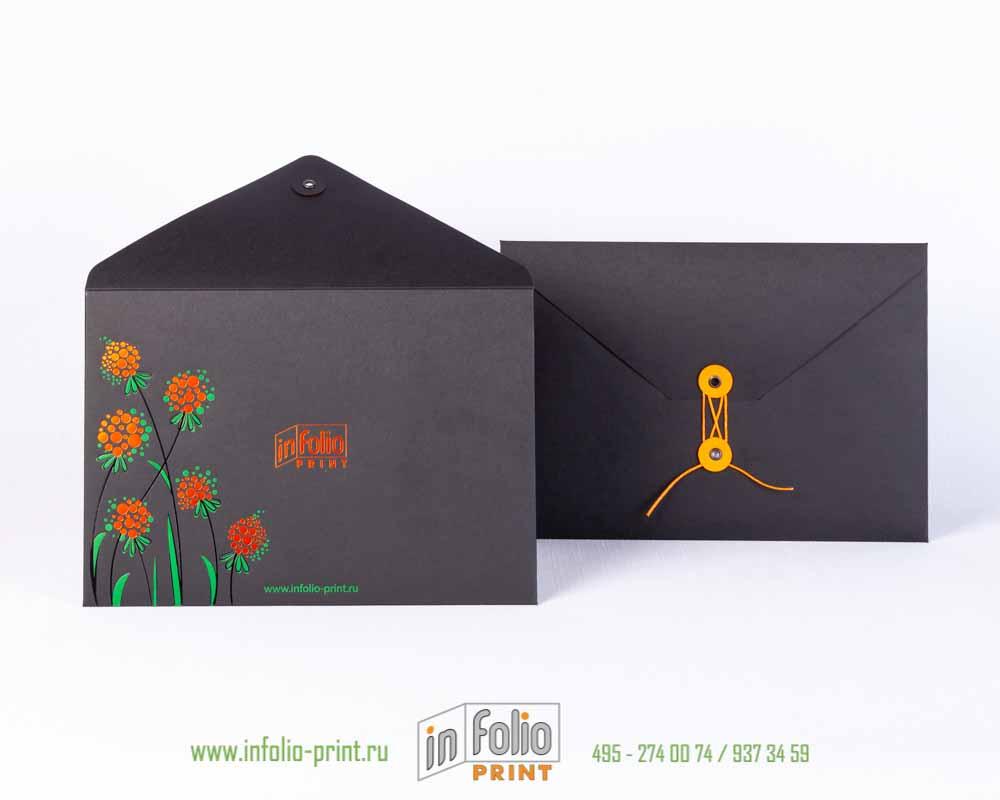 Черный конверт с тиснением фольгой - С5, треугольный клапан