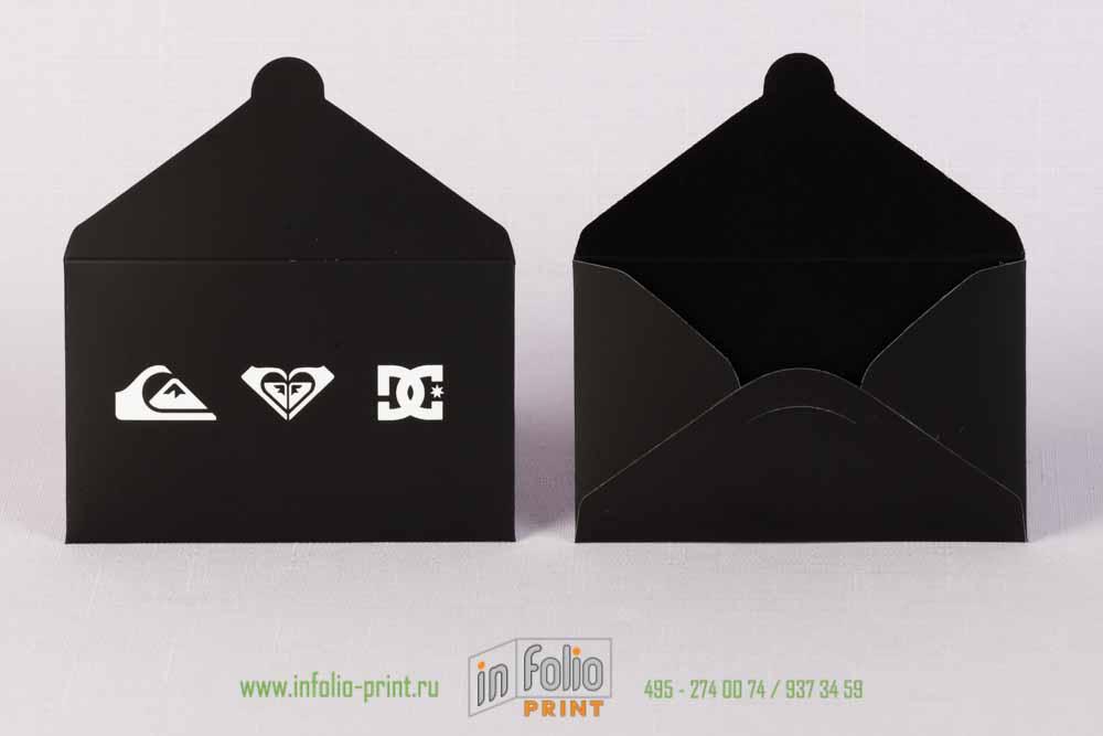 черный матовый конверт для дисконтной карты