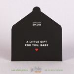 черный велюровый конверт soft touch для подарочной карты