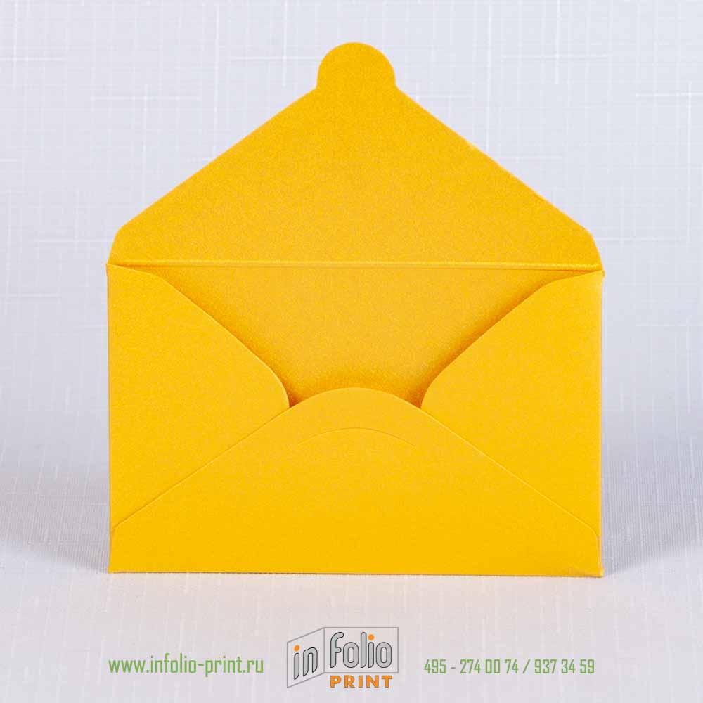 Ярко-желтый металлизированный конвертик 95х60 мм