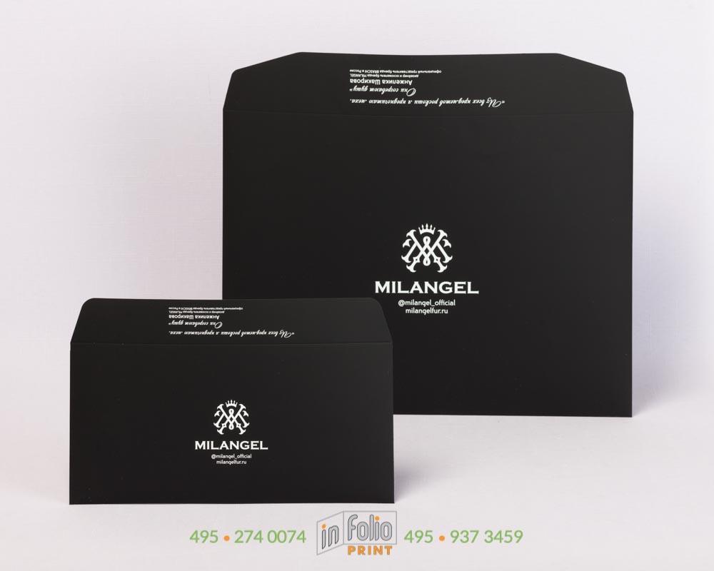 Черный конверт С4 и евро с покрытием софт тач