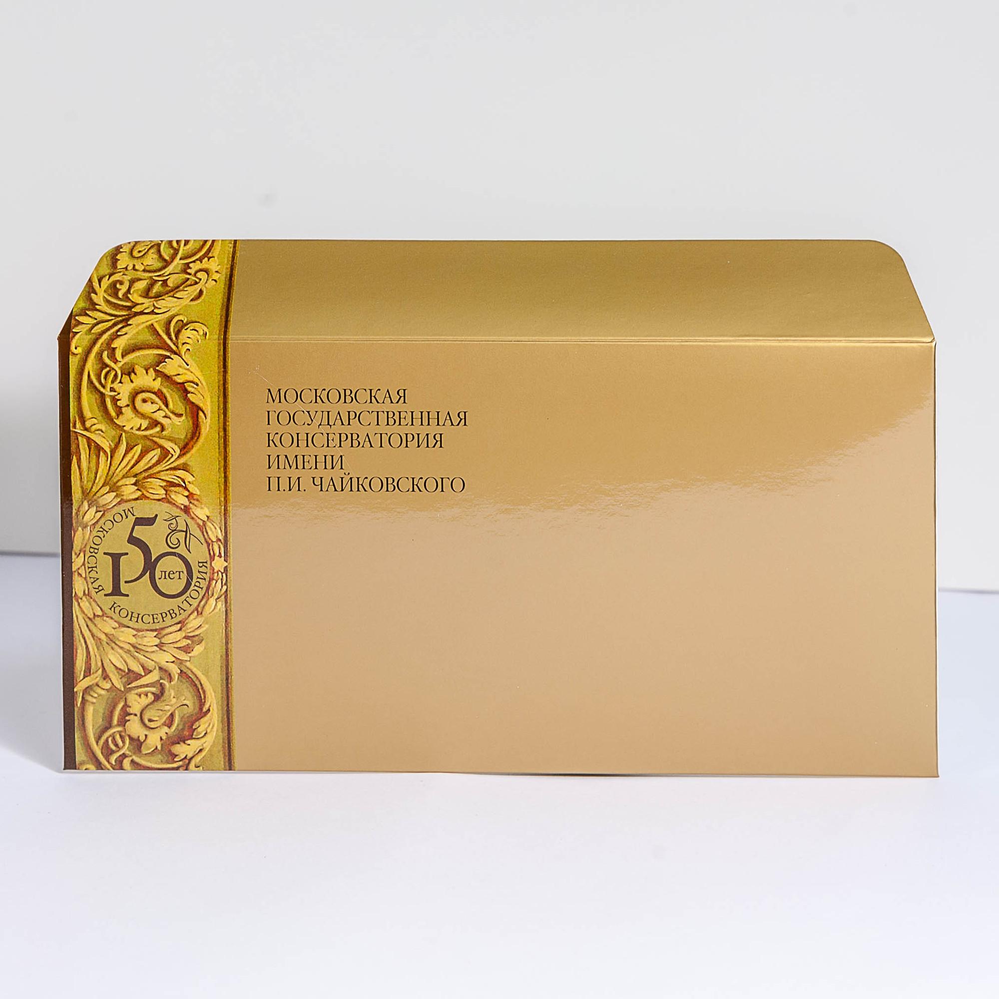 Ламинированный евро конверт из меловки 250 г/м2, с печатью золотом