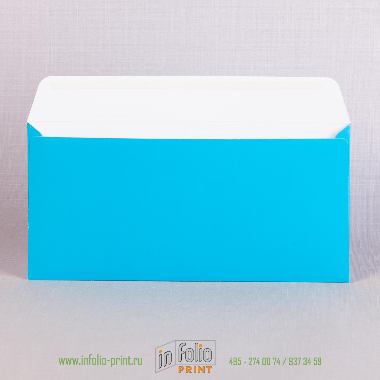 Оборот голубого конверта с матовой ламинацией