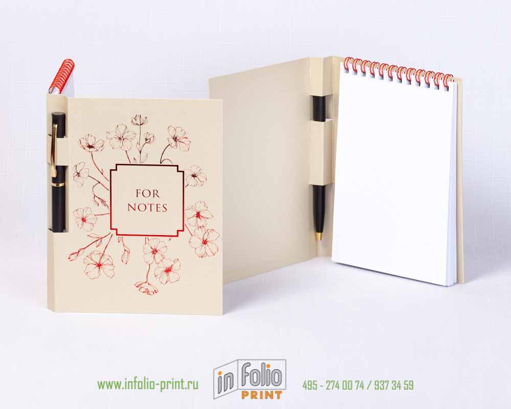 Блокнот А6 с ручкой, красная пружинка и красная фольга