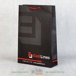 Черный бумажный пакет с матовой ламинацией