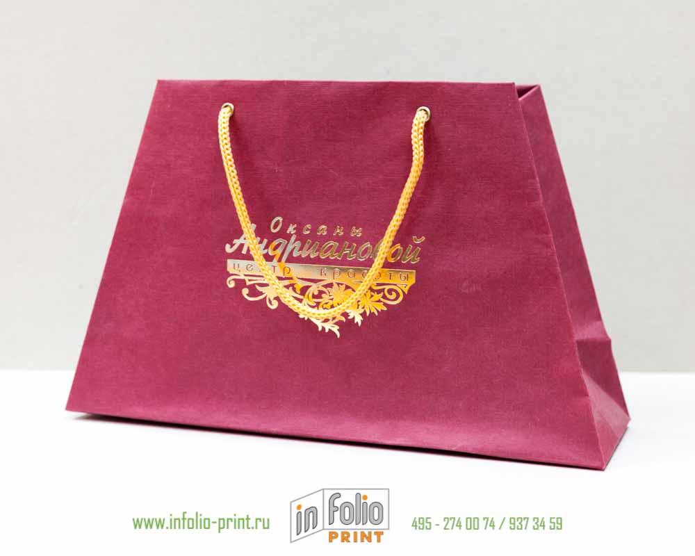Пакет трапеция из эфалина с золотым тиснением