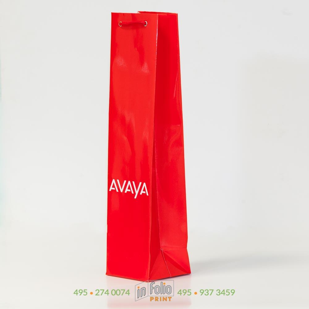 Пакет для бутылки с лого и матовой ламинацией