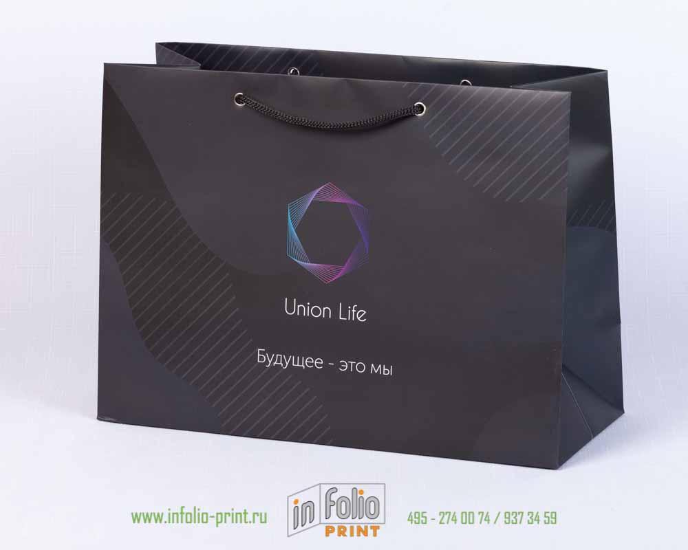 Черный матовый пакет с логотипом