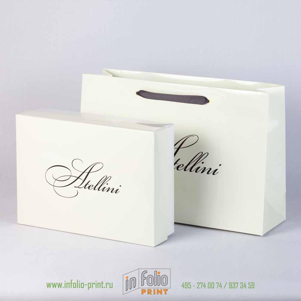коробка крышка-дно с упаковочным пакетом