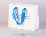 ламинированный пакет с атласными голубыми лентами