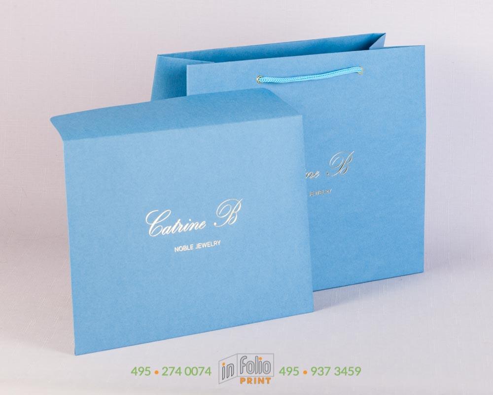 Пакет с тиснением фольгой из голубого льна