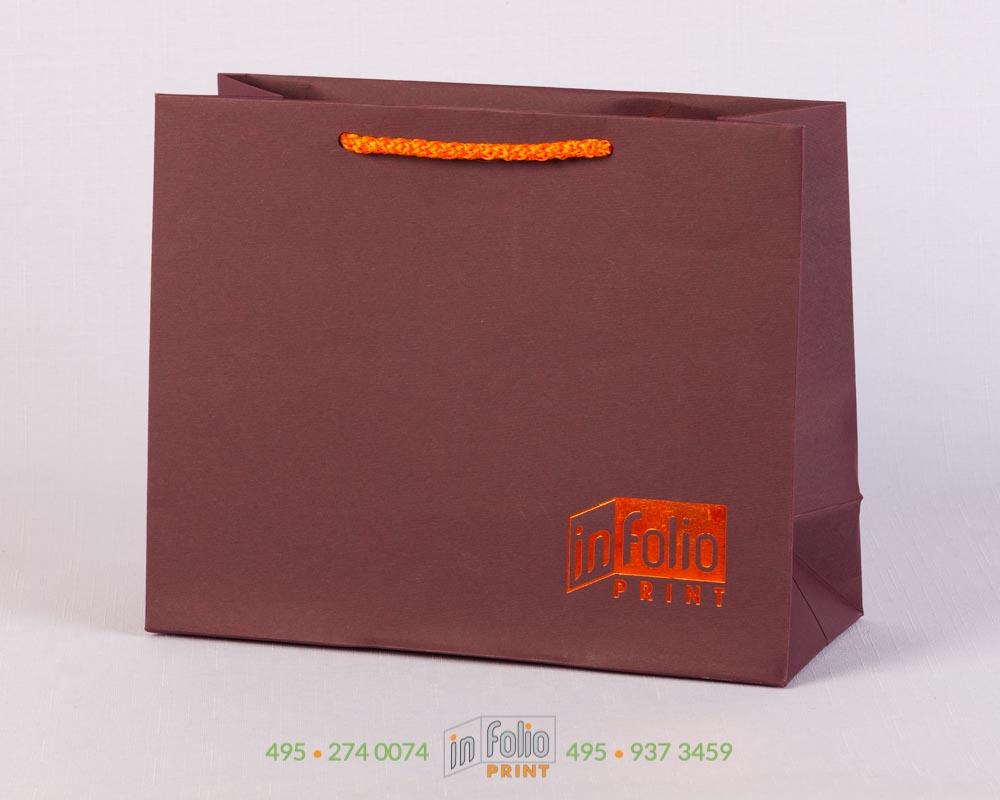 Пакет из дизайнерской бумаги с оранжевым тиснением