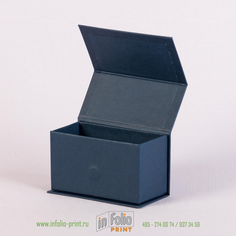 Коробка для визитных= карточках на магните из синего эфалина