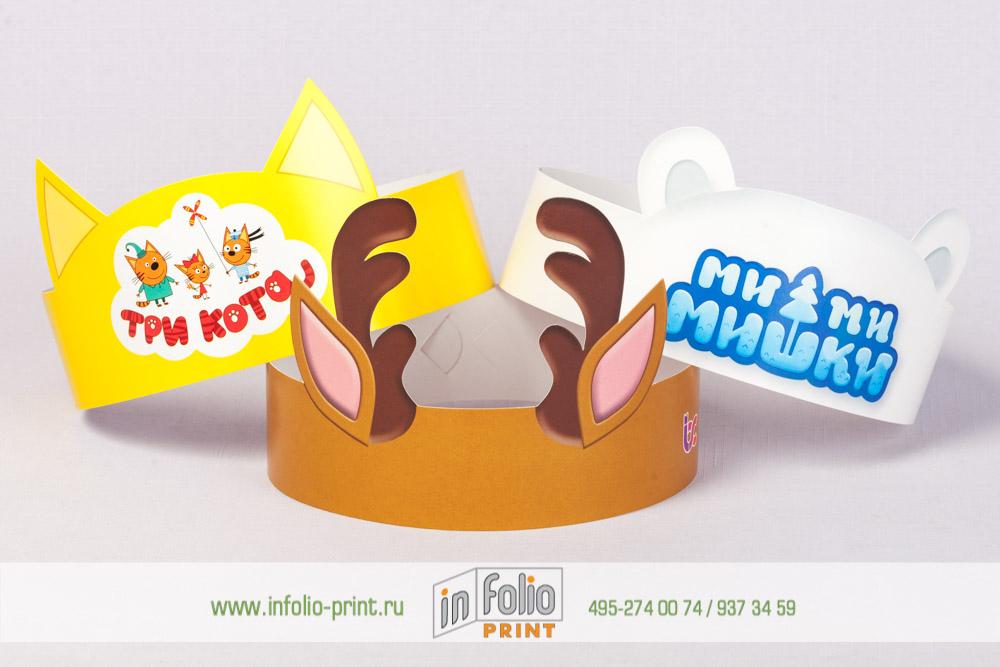 Детская корона для проведения праздников - кошка, мишка и олень