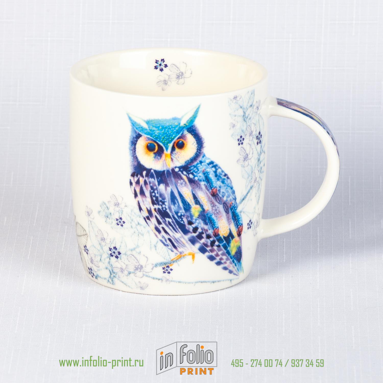 Кружка с совой голубого цвета