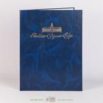 Адресная папка из синего бумвинала  с тиснением