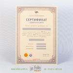 Квалификационный сертификат на дорогой дизайнерской бумаге